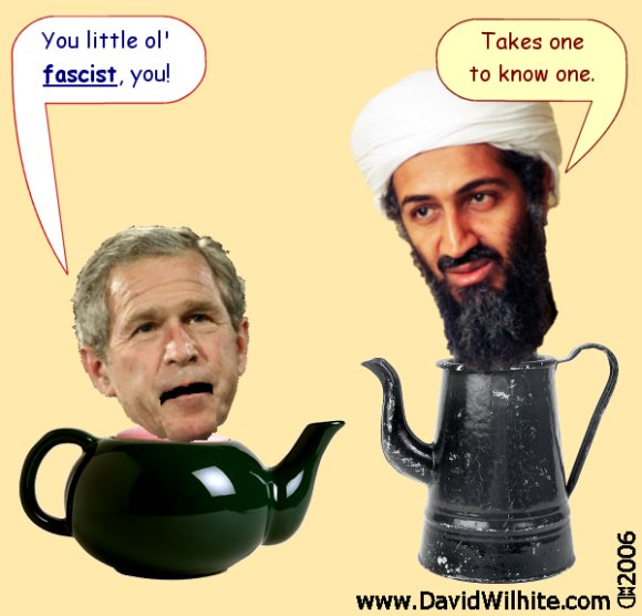 Pot and Kettle - Osama Bin Laden Political Cartoon by David Wilhite